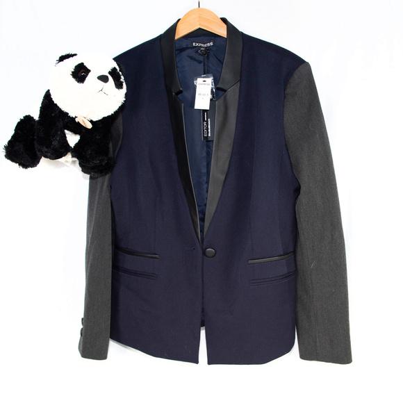 Express Jackets & Blazers - New Express blue, grey 'Editor' blazer jacket